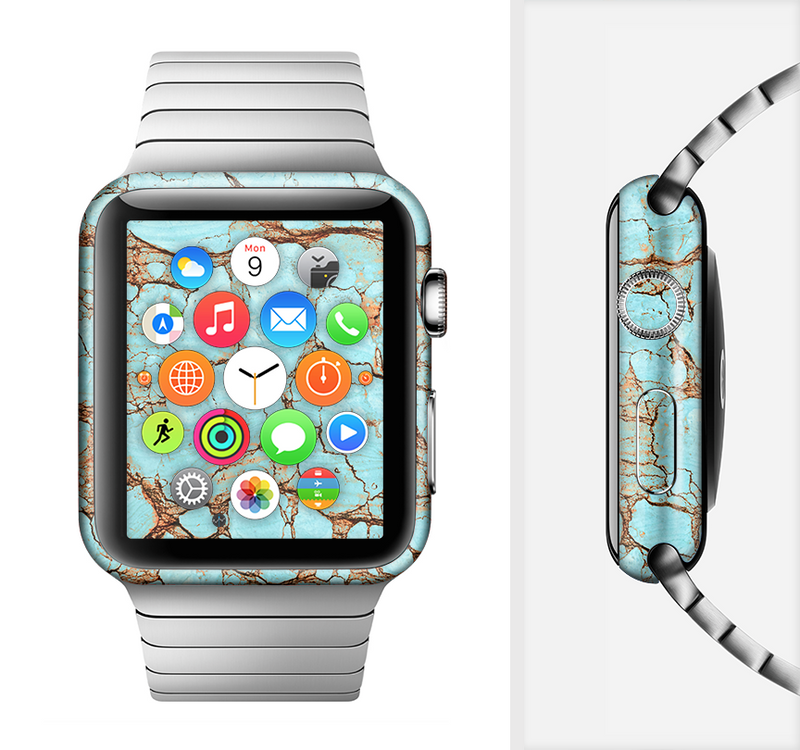 The Cracked Teal Stone Full-Body Skin Set for the Apple Watch