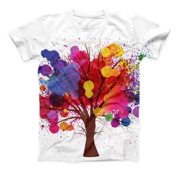 The Crazy Splatter Tree ink-Fuzed Unisex All Over Full-Printed Fitted Tee Shirt