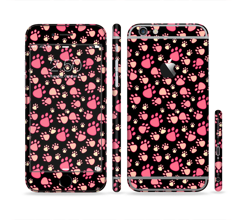 The Cut Pink Paw Prints Sectioned Skin Series for the Apple iPhone 6/6s Plus