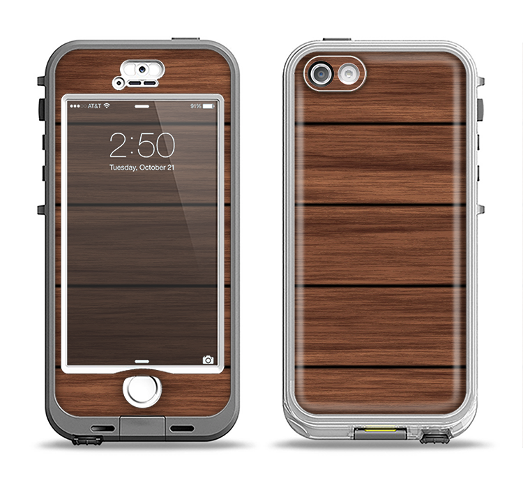 The Dark-Grained Wood Planks V4 Apple iPhone 5-5s LifeProof Nuud Case Skin Set