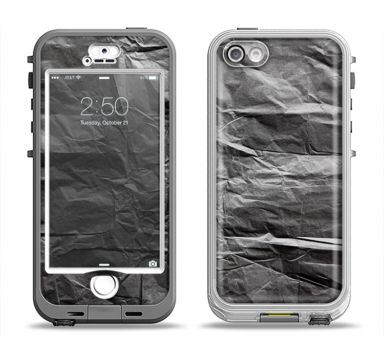 The Dark Black Wrinkled Paper Apple iPhone 5-5s LifeProof Nuud Case Skin Set