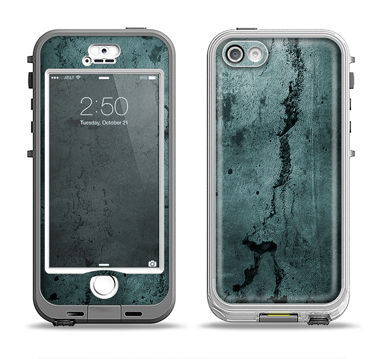 The Dark Blue Cracked Texture Apple iPhone 5-5s LifeProof Nuud Case Skin Set