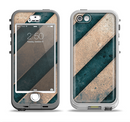 The Dark Blue & Highlighted Grunge Strips Apple iPhone 5-5s LifeProof Nuud Case Skin Set