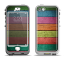 The Dark Colorful Wood Planks V2 Apple iPhone 5-5s LifeProof Nuud Case Skin Set