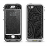 The Dark Gray & Black Paisley Apple iPhone 5-5s LifeProof Nuud Case Skin Set