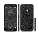The Dark Gray & Black Paisley Sectioned Skin Series for the Apple iPhone 6/6s Plus