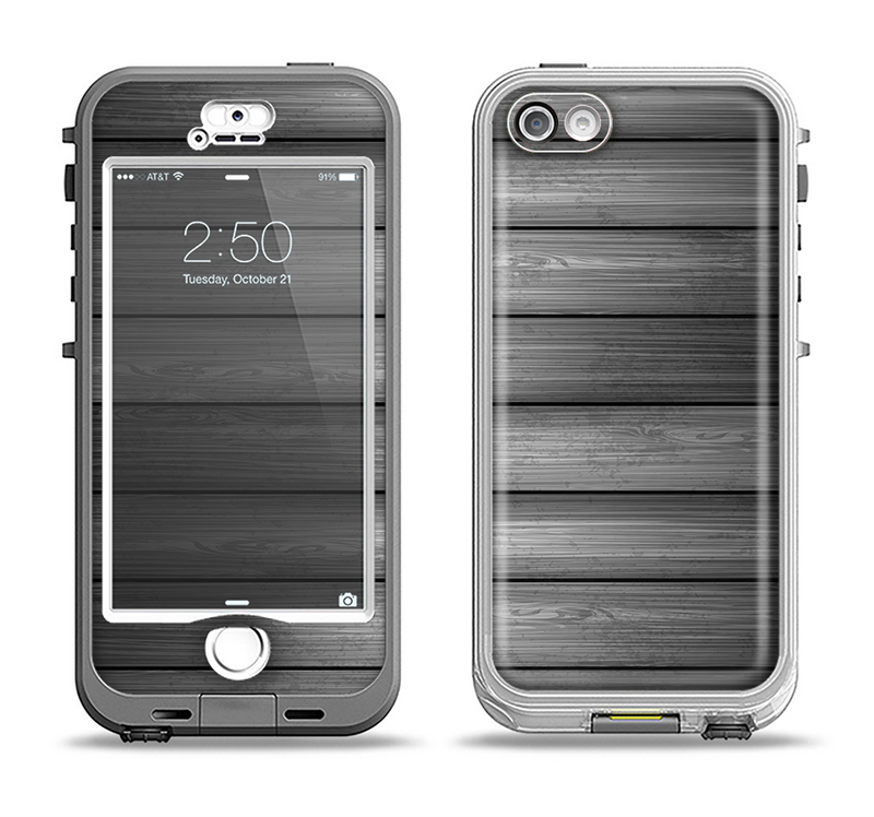 The Dark Vector Horizontal Wood Planks Apple iPhone 5-5s LifeProof Nuud Case Skin Set
