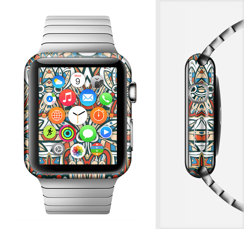 The Decorative Blue & Red Aztec Pattern Full-Body Skin Set for the Apple Watch