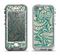 The Delicate Green & Tan Floral Lace Apple iPhone 5-5s LifeProof Nuud Case Skin Set