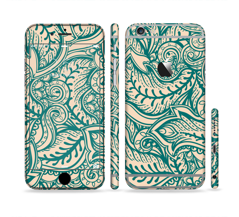 The Delicate Green & Tan Floral Lace Sectioned Skin Series for the Apple iPhone 6/6s Plus
