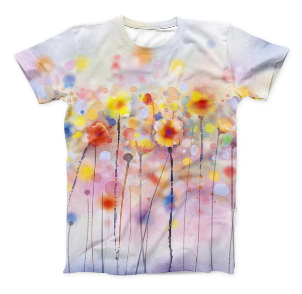 The Drizzle Watercolor Flowers V1 ink-Fuzed Unisex All Over Full-Printed Fitted Tee Shirt
