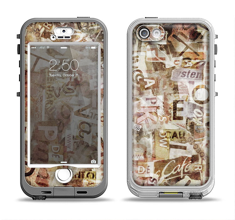 The Faded Torn Newspaper Letter Collage Apple iPhone 5-5s LifeProof Nuud Case Skin Set