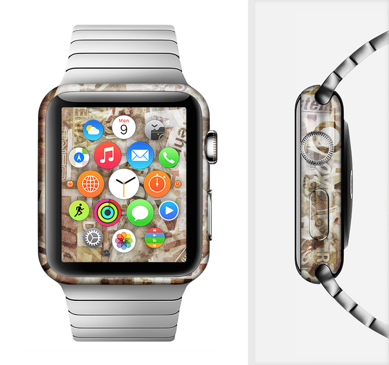 The Faded Torn Newspaper Letter Collage Full-Body Skin Set for the Apple Watch