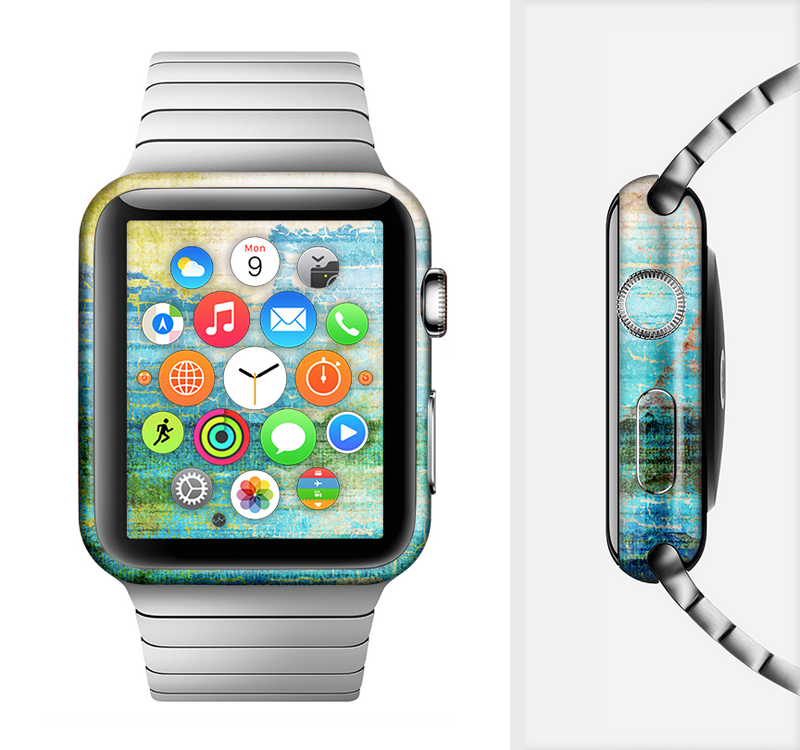 The Faded and Cracked Green Paint Full-Body Skin Set for the Apple Watch