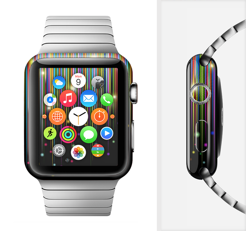 The Falling Neon Color Strips Full-Body Skin Set for the Apple Watch