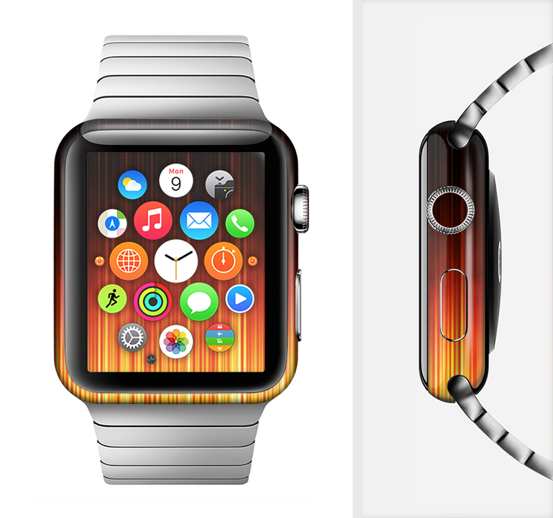 The Fiery Glowing Gradient Stripes Full-Body Skin Set for the Apple Watch