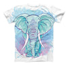 The Flourished Blue & Purple Sacred Elephant ink-Fuzed Unisex All Over Full-Printed Fitted Tee Shirt