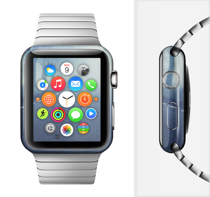 The Foggy Back Road Full-Body Skin Set for the Apple Watch