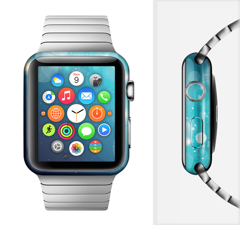 The Glowing Blue & Teal Translucent Circles Full-Body Skin Set for the Apple Watch