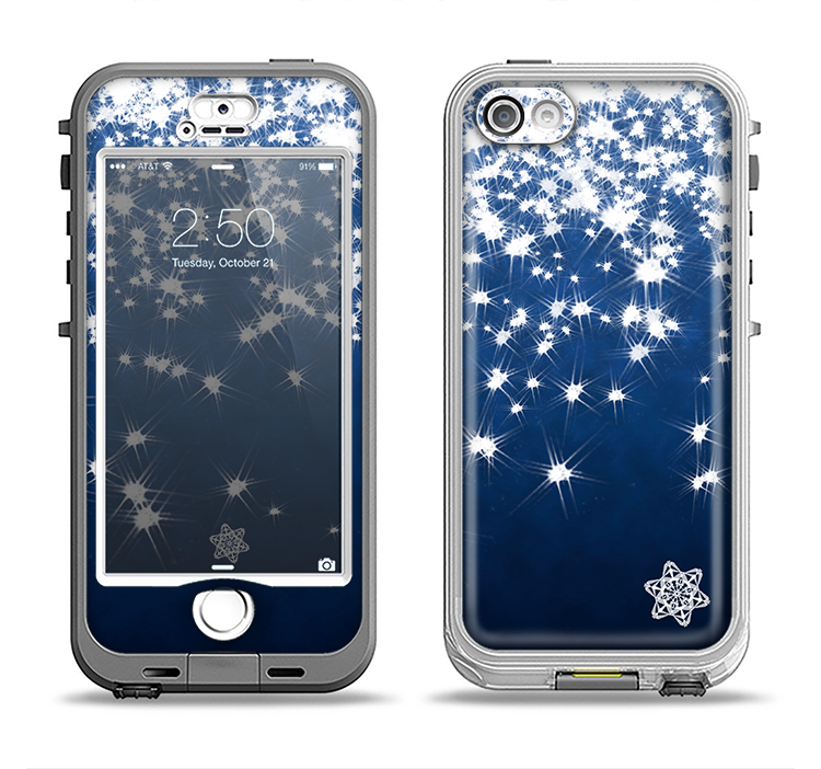 The Glowing White SnowFlakes Apple iPhone 5-5s LifeProof Nuud Case Skin Set