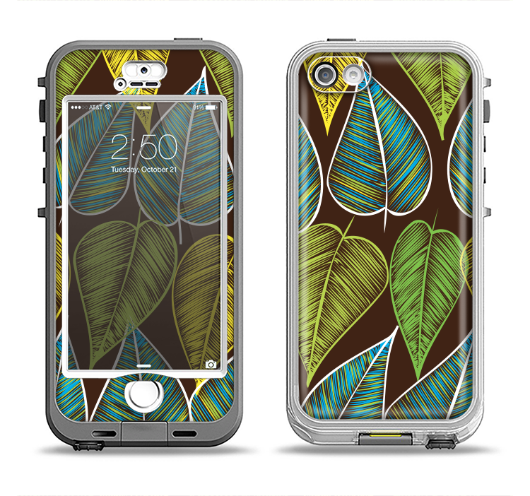 The Gold & Yellow Seamless Leaves Illustration Apple iPhone 5-5s LifeProof Nuud Case Skin Set
