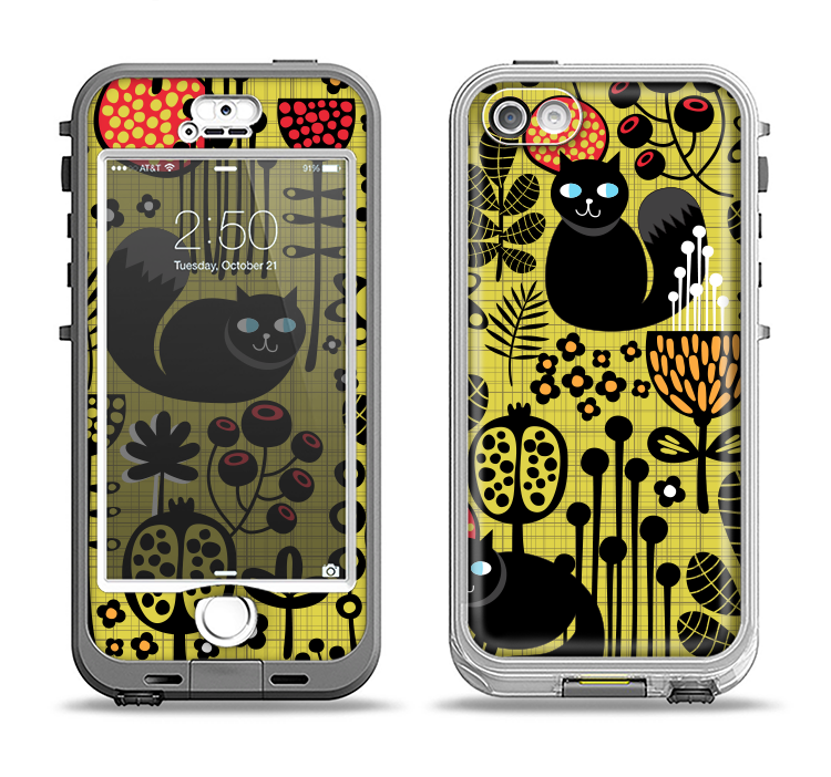 The Gold vector Fat Cat Illustration Apple iPhone 5-5s LifeProof Nuud Case Skin Set