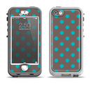 The Gray & Blue Polka Dot Apple iPhone 5-5s LifeProof Nuud Case Skin Set
