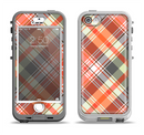 The Gray & Bright Orange Plaid Layered Pattern V5 Apple iPhone 5-5s LifeProof Nuud Case Skin Set