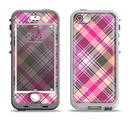 The Gray & Bright Pink Plaid Layered Pattern V5 Apple iPhone 5-5s LifeProof Nuud Case Skin Set