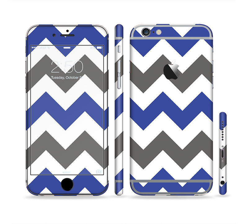 The Gray & Navy Blue Chevron Sectioned Skin Series for the Apple iPhone 6/6s Plus