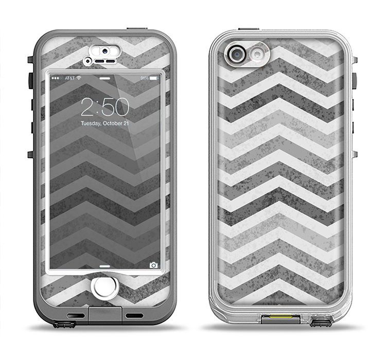 The Gray Toned Wide Vintage Chevron Pattern Apple iPhone 5-5s LifeProof Nuud Case Skin Set