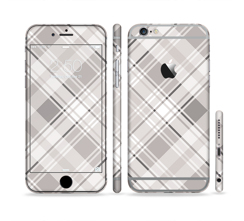 The Gray & White Plaid Layered Pattern V5 Sectioned Skin Series for the Apple iPhone 6/6s Plus