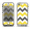 The Gray & Yellow Chevron Pattern Apple iPhone 5-5s LifeProof Nuud Case Skin Set