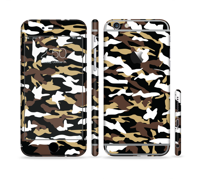 The Green-Tan & White Traditional Camouflage Sectioned Skin Series for the Apple iPhone 6/6s Plus