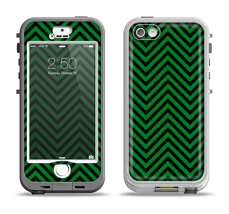 The Green & Black Sharp Chevron Pattern Apple iPhone 5-5s LifeProof Nuud Case Skin Set