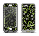 The Green Floral Swirls on Black Apple iPhone 5-5s LifeProof Nuud Case Skin Set