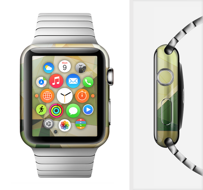 The Green Geometric Gradient Pattern Full-Body Skin Set for the Apple Watch