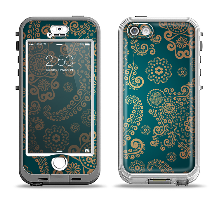 The Green & Gold Lace Pattern Apple iPhone 5-5s LifeProof Nuud Case Skin Set