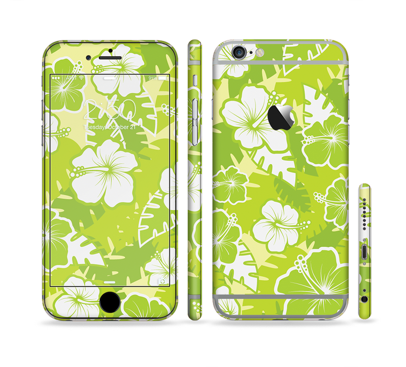 The Green Hawaiian Floral Pattern V4 Sectioned Skin Series for the Apple iPhone 6/6s Plus