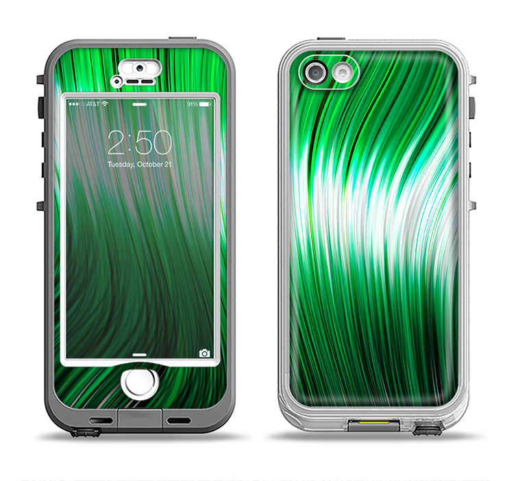 The Green Vector Swirly HD Strands Apple iPhone 5-5s LifeProof Nuud Case Skin Set
