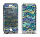 The Green and Blue Stain Glass Apple iPhone 5-5s LifeProof Nuud Case Skin Set