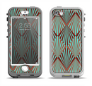 The Green and Brown Diamond Pattern Apple iPhone 5-5s LifeProof Nuud Case Skin Set