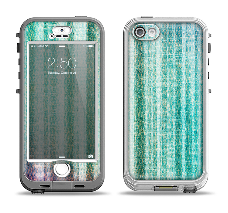 The Green and Purple Dyed Textile Apple iPhone 5-5s LifeProof Nuud Case Skin Set