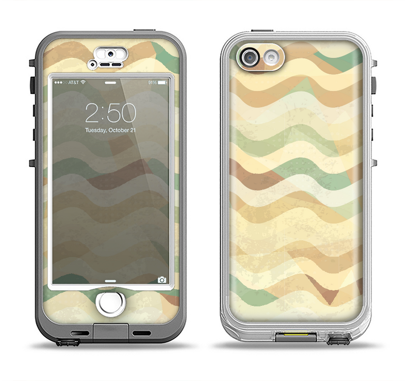 The Green and Yellow Wave Pattern v3 Apple iPhone 5-5s LifeProof Nuud Case Skin Set