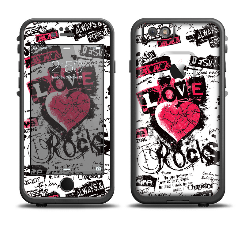 The Grunge Love Rocks Apple iPhone 6/6s LifeProof Fre Case Skin Set