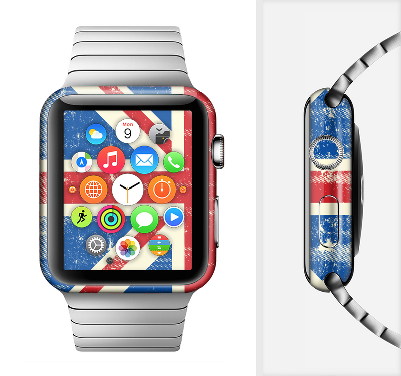 The Grunge Vintage Textured London England Flag Full-Body Skin Set for the Apple Watch