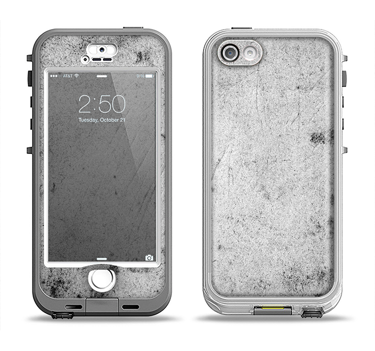 The Grungy Concrete Textured Surface Apple iPhone 5-5s LifeProof Nuud Case Skin Set