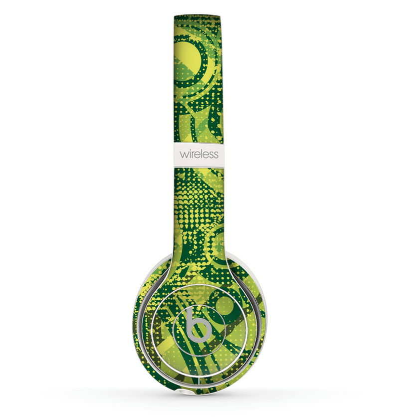The Grungy Green Messy Pattern V2 Skin Set for the Beats by Dre Solo 2 Wireless Headphones