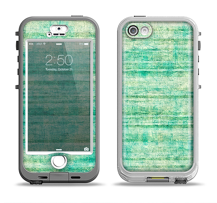 The Grungy Horizontal Green Lines Apple iPhone 5-5s LifeProof Nuud Case Skin Set