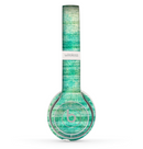 The Grungy Horizontal Green Lines Skin Set for the Beats by Dre Solo 2 Wireless Headphones